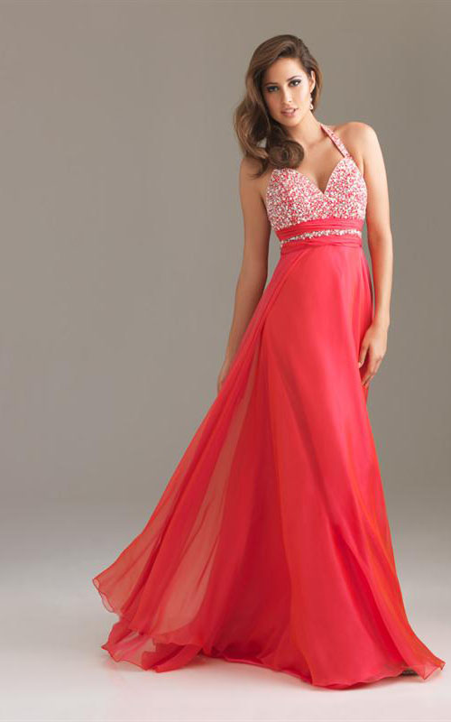 6420 Halter Neckline Watermelon Prom Dress1