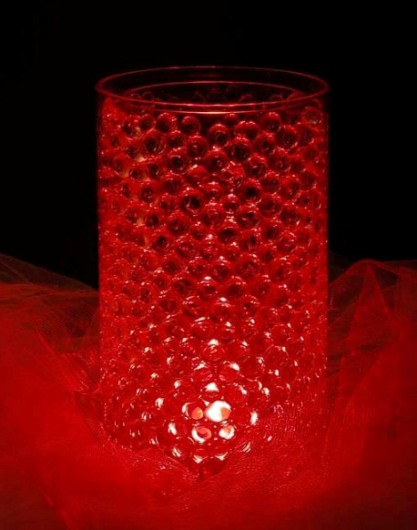 Water Vase Crystals Red Round