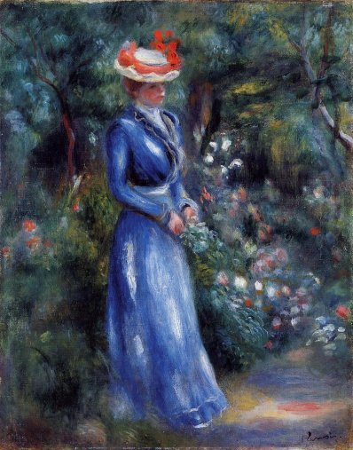 Pierre-Auguste-Renoir-Woman-in-a-Blue-Dress-Standing-in-the-Garden-of-Saint-Cloud-Oil-Painting