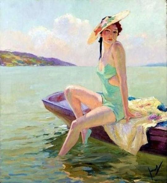 American-Impressionist-Painter-Edward-Cucuel-Green-Dressed-Oil-Painting