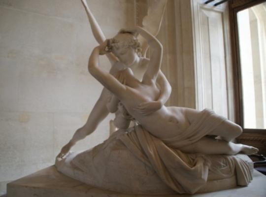 Antonio Canova (1757-1822) sculptura din marmura  Muzeul Luvru, Paris Cupidon si Psyche, c. 1808