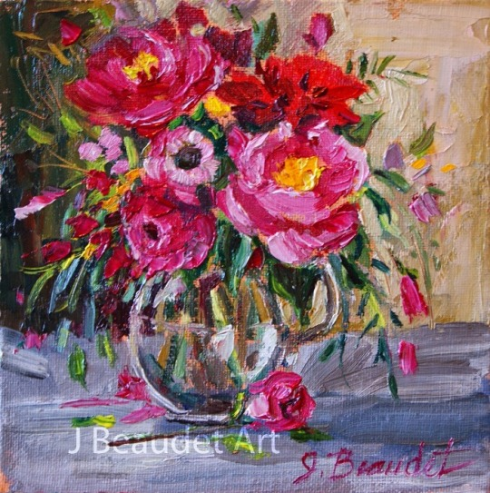 original painting impressionist floral September Harvest wm