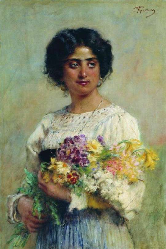 Konstantin Makovsky - A girl with a bouquet
