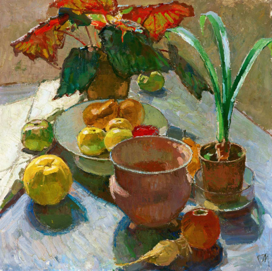 Still Life with Pots of Flowers and Apples (c.1930)
