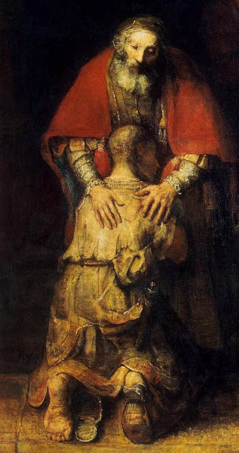 The Return of the Prodigal Son-(detail)-1669 by Rembrandt