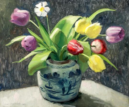 OLLE HJORTZBERG - Still Life with Tulips