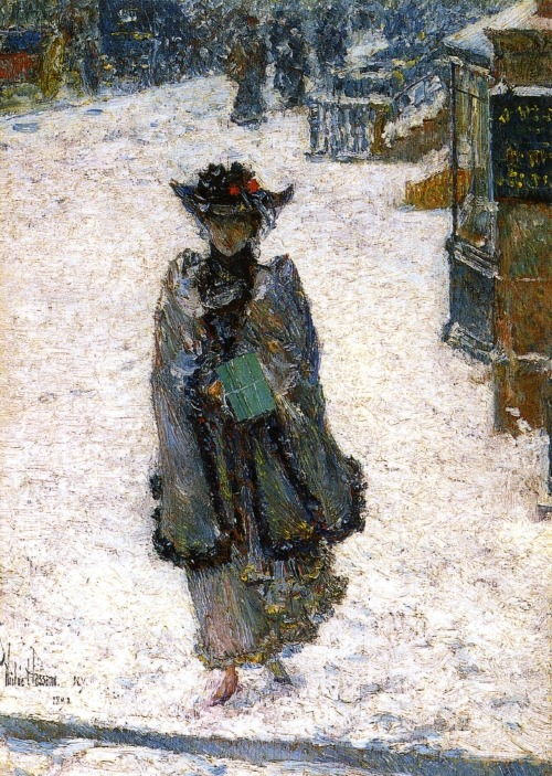 Street Scene, Christmas Morning, 1892, Childe Hassam