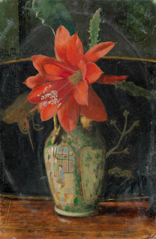 Still life with a Canton vase, 1876, John Atkinson Grimshaw