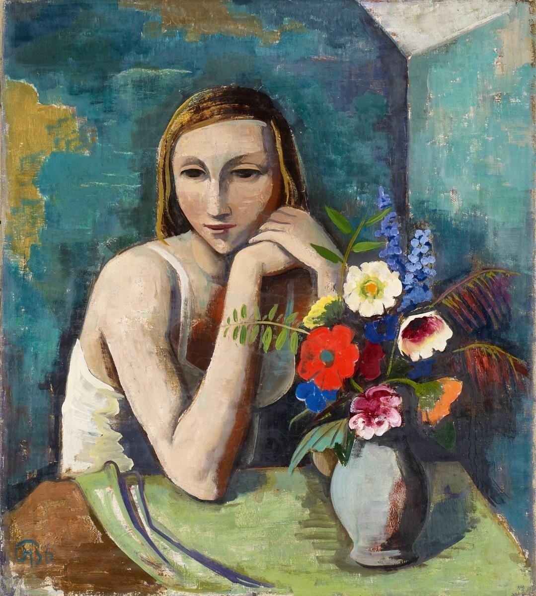 Karl Hofer (German, 1878-1955), Girl with Flowers, 1936.