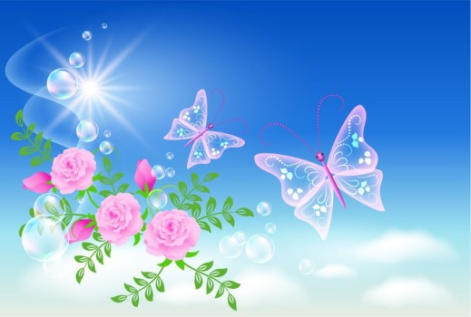 Sky, roses, and  butterfly.