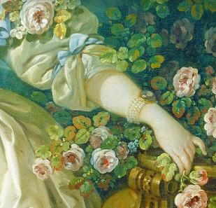 François Boucher- Madame Bergeret detail (c.1766)
