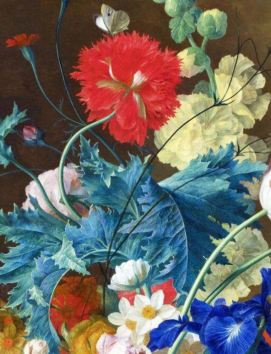 Jan van Huysum, Bouquet of Flowers in a Terracotta Vase (detail), 1736 -1737