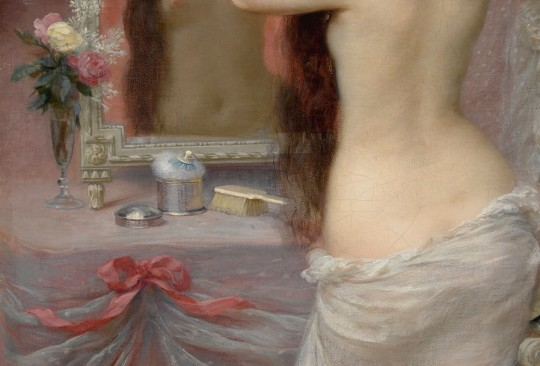 jean andré rixens - jeune femme nue se coiffant dans un intérieur