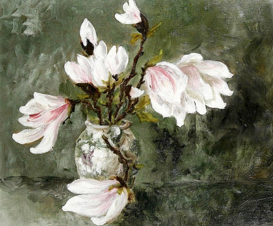 Margaret Thomas (British, born 1916) Magnolia stems in a vase
