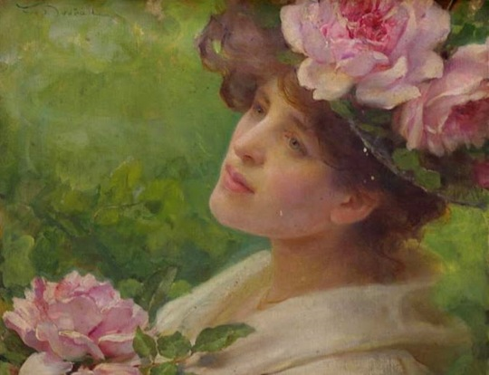 František Dvořák Head of a Woman with peonies- (Neuilly), 1903
