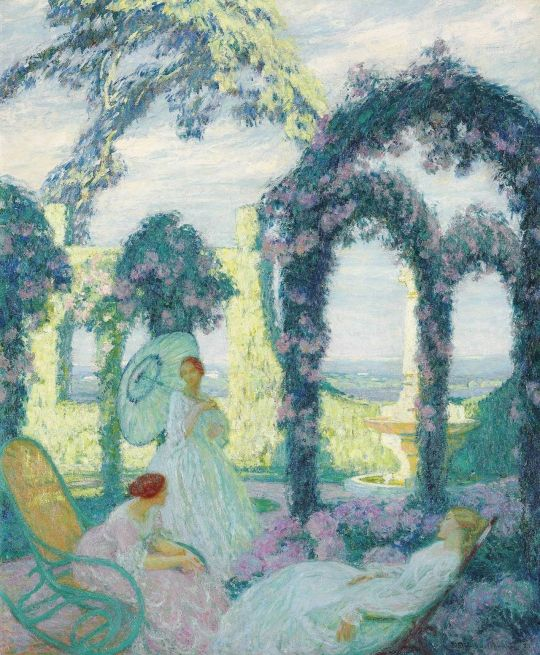 mile Octave Denis Victor Guillonnet — Women in the Garden, 1921