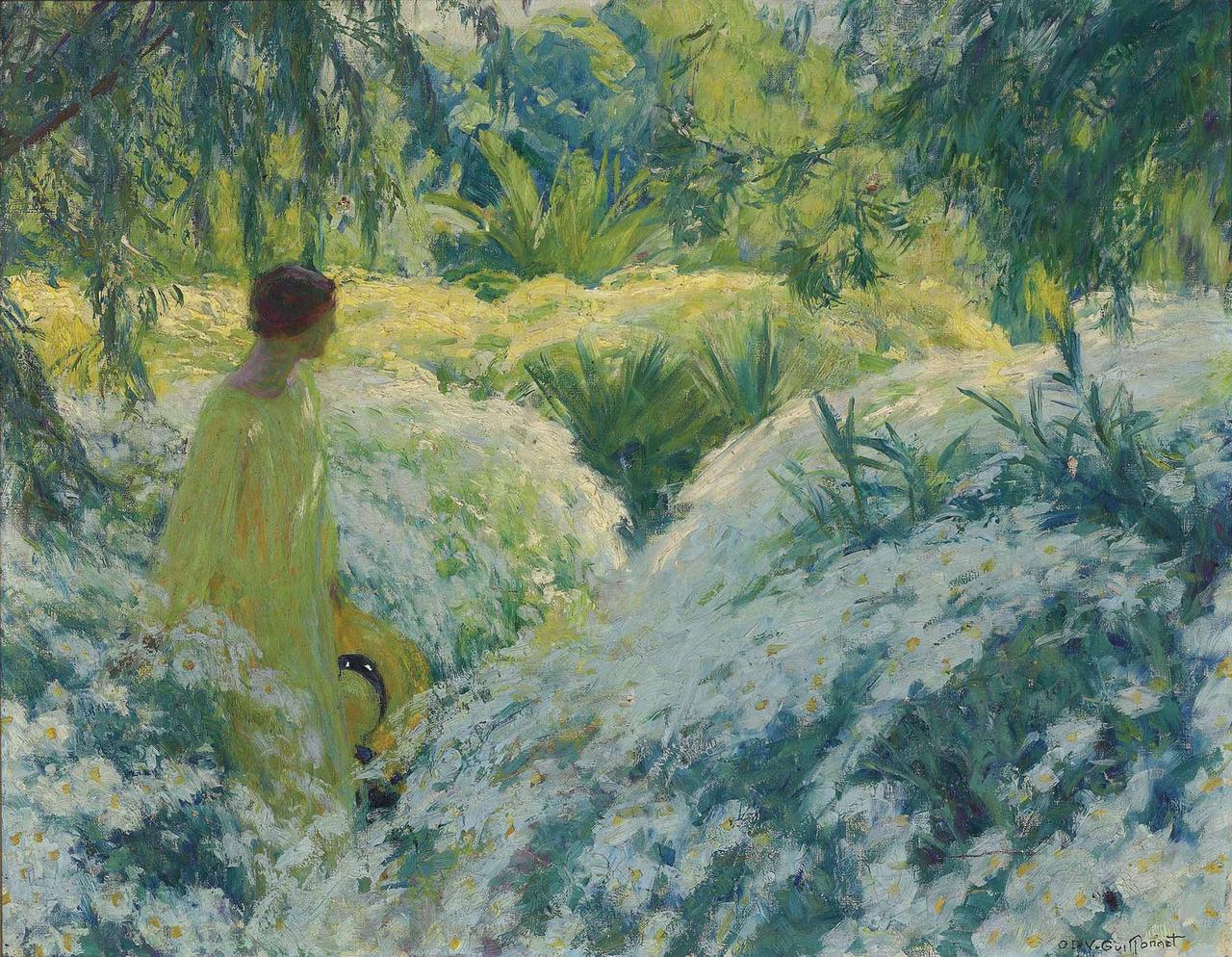 Octave Denis Victor Guillonnet - Solitude au jardin